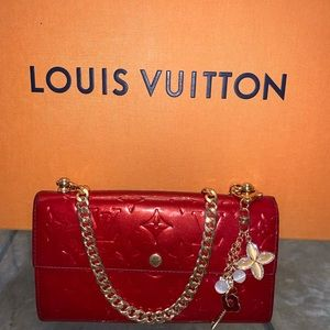 Louis Vuitton red monogram wallet on chain